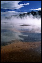 Great prismatic springs, thermal steam, and hill,  Midway geyser basin. Yellowstone National Park, Wyoming, USA.