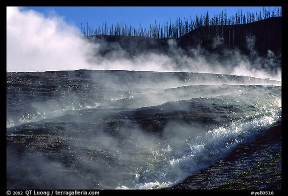 Steam and hill, Midway geyser basin. Yellowstone National Park (color)