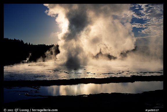 Great Fountain geyser eruption. Yellowstone National Park, Wyoming, USA.