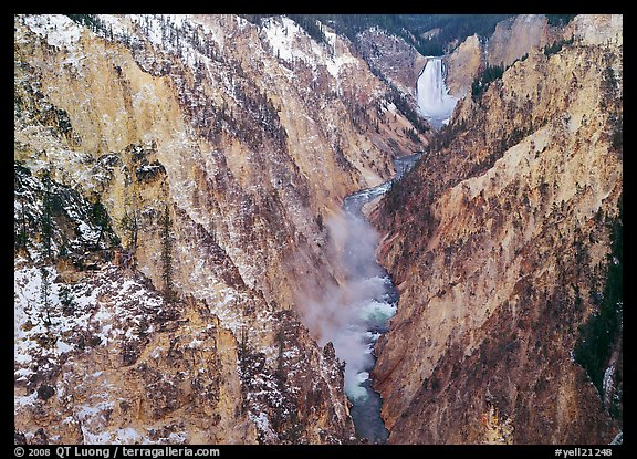 Grand Canyon of Yellowstone and Lower Falls with snow dusting. Yellowstone National Park, Wyoming, USA.