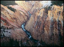 River and Walls of the Grand Canyon of Yellowstone, dusk. Yellowstone National Park, Wyoming, USA.