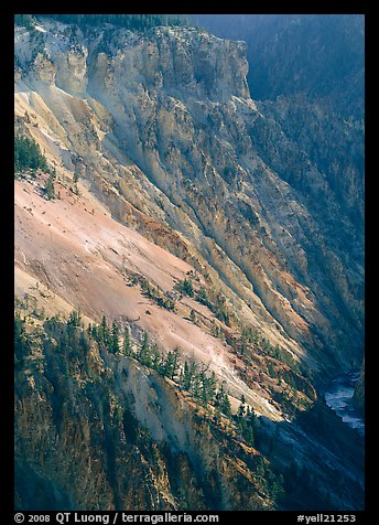 Slopes of Grand Canyon of the Yellowstone. Yellowstone National Park (color)