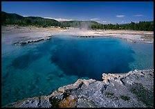 Blue clear waters in Sapphire Pool. Yellowstone National Park, Wyoming, USA.