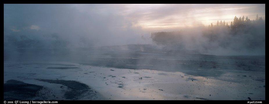 Steam rising in thermal geyser basin a dawn. Yellowstone National Park (color)