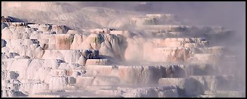 Travertine terraces and steam. Yellowstone National Park (Panoramic color)