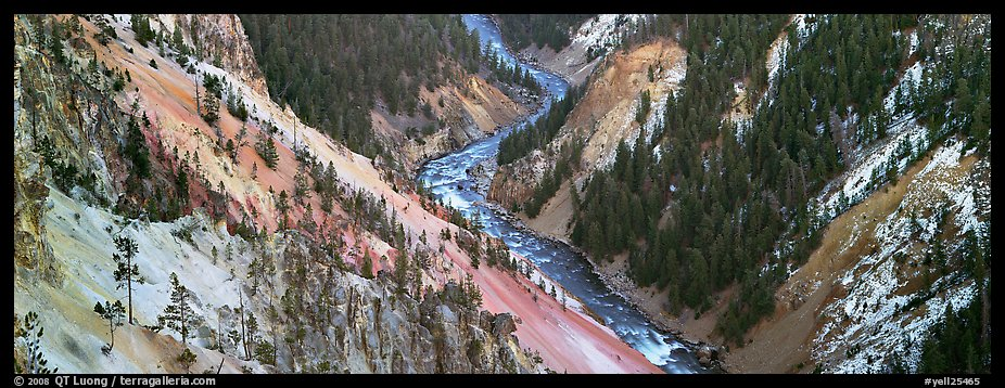 Yellowstone River meandering through canyon. Yellowstone National Park (color)