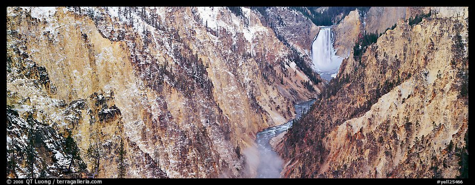 Yellowstone River falls in early winter. Yellowstone National Park, Wyoming, USA.
