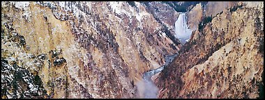 Yellowstone River falls in early winter. Yellowstone National Park (Panoramic color)