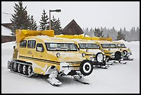 Snow coaches parked at Flagg Ranch. Yellowstone National Park ( color)