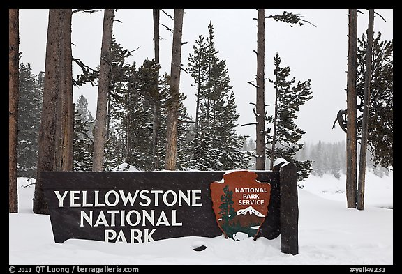 Park entrance sign in winter. Yellowstone National Park (color)