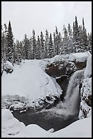 Moose Falls in winter. Yellowstone National Park, Wyoming, USA.