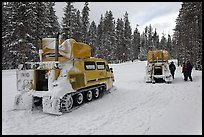 Snowcoaches on snow-covered road. Yellowstone National Park, Wyoming, USA. (color)