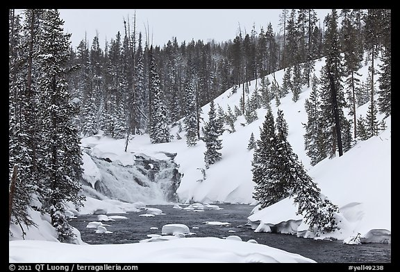 Lewis Falls in winter. Yellowstone National Park (color)