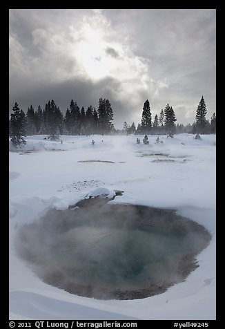 Thermal pool and dark clouds, winter. Yellowstone National Park, Wyoming, USA.