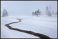 Thermal run-off and snowy landscape. Yellowstone National Park, Wyoming, USA. (color)