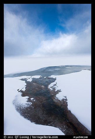 Thermal stream at edge of Yellowstone Lake in winter. Yellowstone National Park (color)