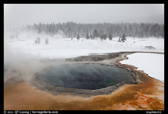 Crested Pool in winter. Yellowstone National Park, Wyoming, USA.