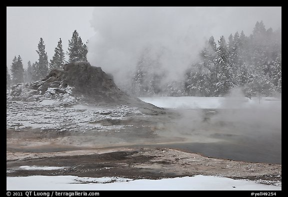 Castle geyser cone and steam in winter. Yellowstone National Park, Wyoming, USA.