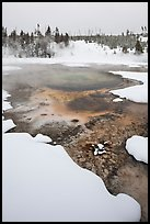 Hot springs and snow, Upper Geyser Basin. Yellowstone National Park, Wyoming, USA. (color)