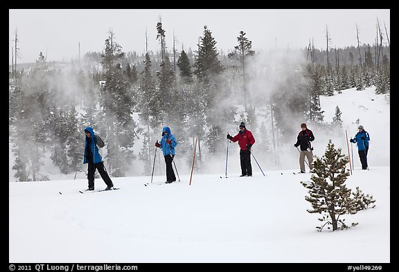 Skiers and thermal steam. Yellowstone National Park, Wyoming, USA.