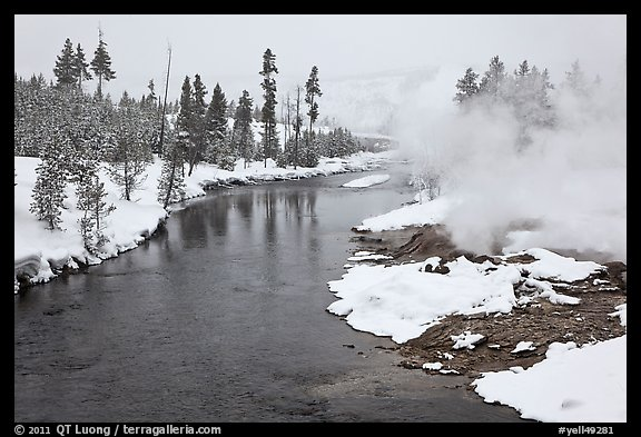 Thermal steam along the Firehole River in winter. Yellowstone National Park (color)