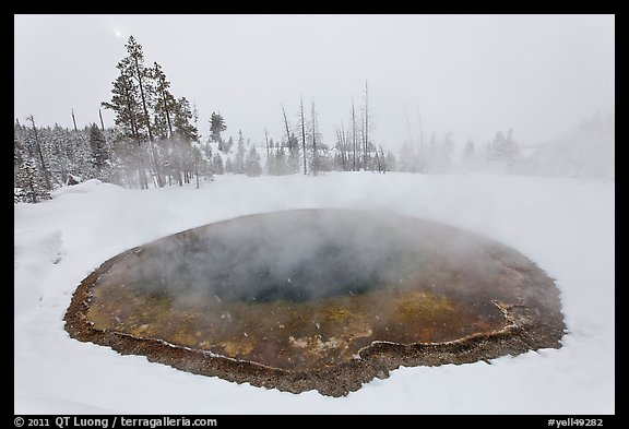 Morning Glory Pool, winter. Yellowstone National Park, Wyoming, USA.