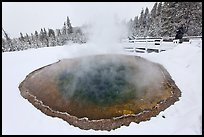 Visitor at Morning Glory Pool, winter. Yellowstone National Park, Wyoming, USA.