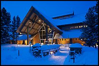 New Visitor Center at night. Yellowstone National Park, Wyoming, USA.