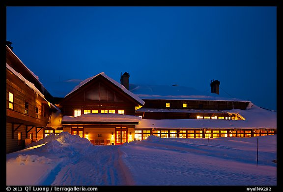 Old Faithful Snow Lodge at dusk, winter. Yellowstone National Park (color)