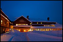 Old Faithful Snow Lodge at dusk, winter. Yellowstone National Park, Wyoming, USA.
