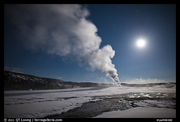 Old Faithful Geyser eruption and moon. Yellowstone National Park (color)