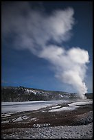 Plume, Old Faithful geyser, winter night. Yellowstone National Park ( color)