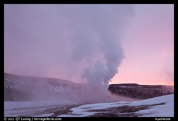 Old Faithful Geyser at dawn. Yellowstone National Park (color)