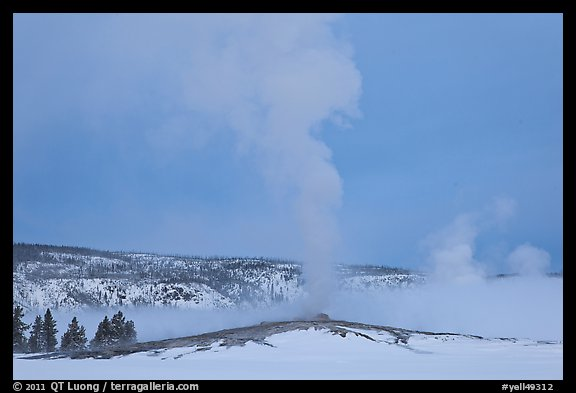 Old Faithful geyser plume in winter. Yellowstone National Park (color)