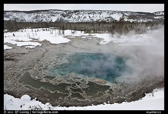 Gem pool seen from above, winter. Yellowstone National Park, Wyoming, USA.