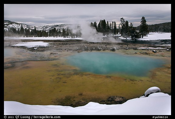 Sapphire Pool in winter. Yellowstone National Park, Wyoming, USA.