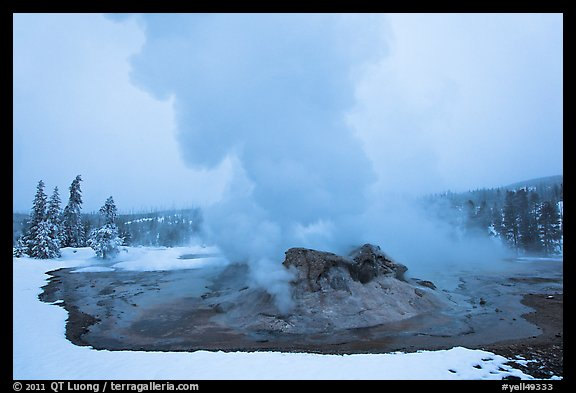 Grotto Geyser at dusk. Yellowstone National Park (color)