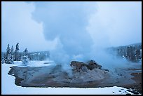Grotto Geyser at dusk. Yellowstone National Park, Wyoming, USA. (color)
