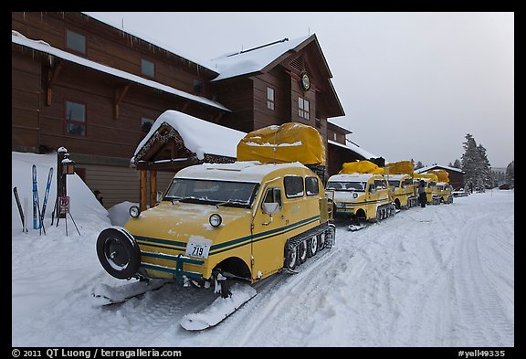 Snow busses in front of Old Faithful Snow Lodge. Yellowstone National Park (color)