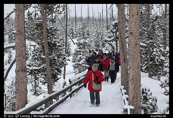 Tourists on boardwalk in winter. Yellowstone National Park (color)