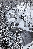 Kepler Cascades of the Firehole River in winter. Yellowstone National Park, Wyoming, USA.