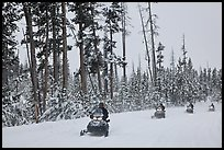 Snowmobilers. Yellowstone National Park, Wyoming, USA. (color)