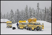 Snowcoaches and snow falling. Yellowstone National Park, Wyoming, USA. (color)