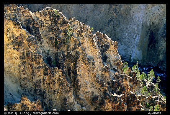 Rock wall in Grand Canyon of the Yellowstone. Yellowstone National Park (color)