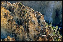 Rock wall in Grand Canyon of the Yellowstone. Yellowstone National Park, Wyoming, USA. (color)