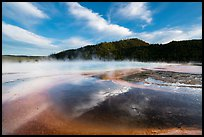 Grand Prismatic Springs with reflected clouds. Yellowstone National Park ( color)