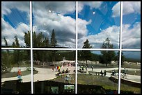 Old Faithful Geyser, Old Faithful visitor education center window reflexion. Yellowstone National Park ( color)