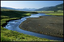 Lamar River, Lamar Valley, early morning. Yellowstone National Park, Wyoming, USA. (color)