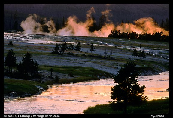 Midway Geyser Basin along the Firehole River. Yellowstone National Park, Wyoming, USA.