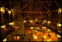 Main hall of Old Faithful Inn. Yellowstone National Park, Wyoming, USA.